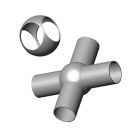 Inox križne kugle sa četiri rupe